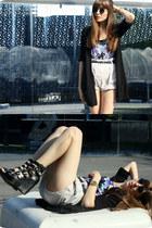 cotton Zara blazer - black Bimba & Lola bag - beige Zara shorts - vintage vintag