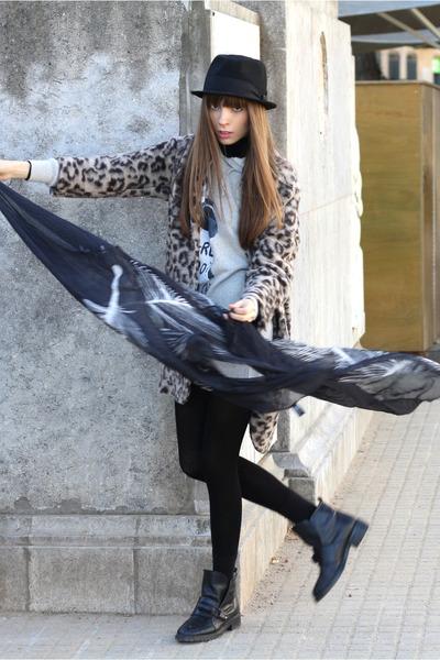 black leather Zara boots - heather gray cute BOOM BAP dress