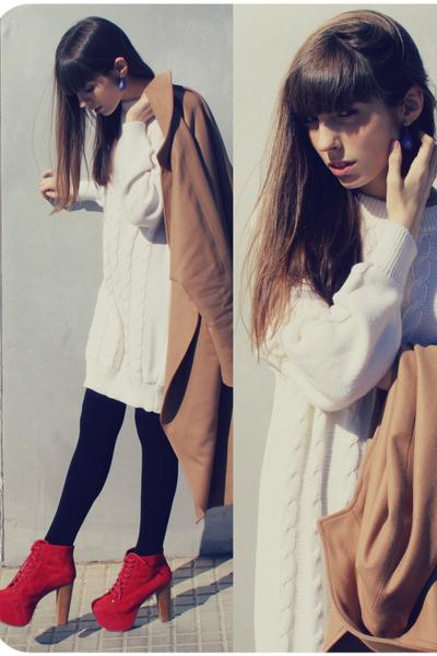 camel unique Stefania Borras coat - brick red lita Jeffrey Campbell boots