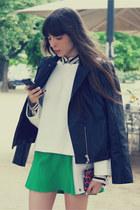 dark gray silk Zara shirt - black leather max&co jacket