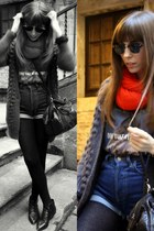black leather Bimba & Lola boots - red red Zara scarf - black leather Zara bag -