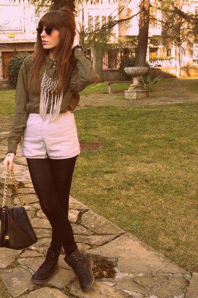 dark khaki H&M shirt - black Calzedonia tights - black Friis & Company bag - bei