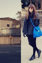 blue leather bag Zara bag - black leather Bimba & Lola boots