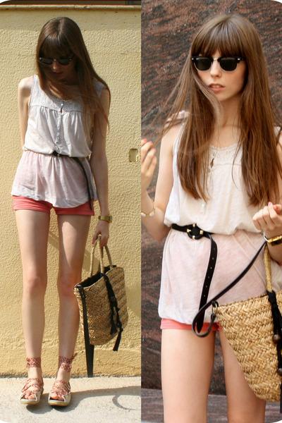 tan straw Zara bag - coral coral denim American Apparel shorts - black sunglasse