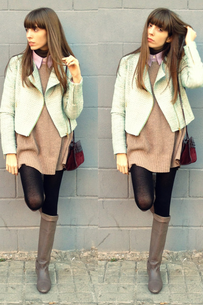 aquamarine tweed BLANCO jacket - light brown leather Camilas boots