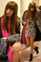 hot pink elegant balenciaga coat - black black boots Michael Kors boots