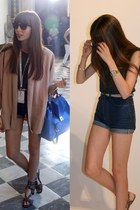 eggshell nude Zara blazer - blue leather bag Zara bag