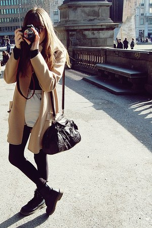 black Dr Martens boots - tan Topshop sunglasses - camel Mango coat - beige Ameri