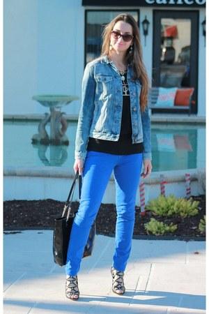 blue skinny jeans - blue acid wash denim Express jacket - black strappy heels