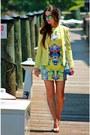 Yellow-dress-yellow-blazer-blue-aviators-sunglasses