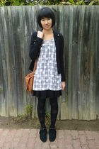 black stockings - black gripp jacket - white dress - black Forever New shoes