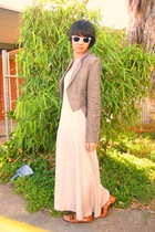 white Ray Ban sunglasses - silver staple dress - brown shoes - gray Lover blazer