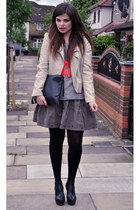 Topshop jumper - South jacket - vintage bag - Topshop wedges - H&M necklace