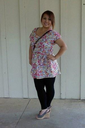 teal wedges - bubble gum dress