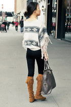 beige poncho Topshop sweater - brown moccassins Minnetonka boots