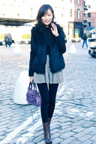 beige knit flare misspouty skirt - dark brown ankle boots lanvin boots