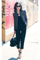misspoutycom jacket - trapeze Celine bag - butterfly Karen Walker sunglasses
