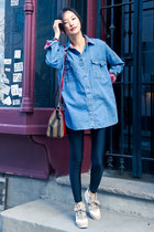 blue misspouty shirt - brick red Fendi bag - beige misspouty sneakers
