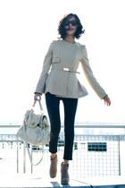 beige misspouty jacket - off white flap Miu Miu bag