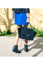 Blue-misspouty-dress-black-black-trapeze-celine-bag