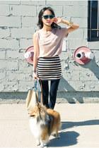 teal misspouty sunglasses - black misspouty skirt - neutral misspouty t-shirt