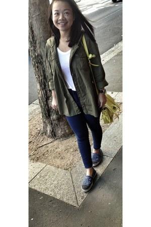 navy Chanel flats - navy Topshop jeans - dark khaki parka asoscom jacket