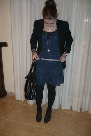 blue pull&bear dress - black Mango blazer - gray Clarks boots