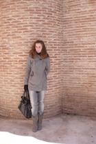 silver Zara boots - silver Stadivarius coat - black pull&bear jeans