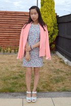 daisy chain OASAP necklace - floral self-made dress - neon peach Glassons blazer