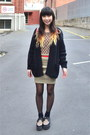 Oasap-shoes-black-wool-thrifted-cardigan-camel-knit-self-made-skirt