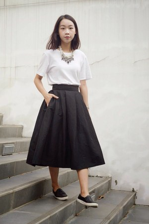 black sneakers Topshop shoes - gray midi skirt Accessorize skirt