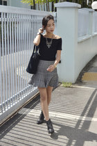 Oasapcom skirt - ankle boots H&M boots - off shoulder Young Hungry Free top