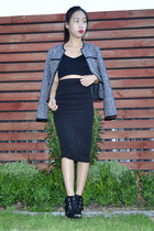 tweed Glassons jacket - ankle cut-out Glassons boots - bralet Jay Jays top