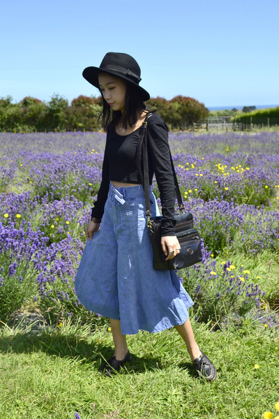 crop top Forever 21 top - felt OASAP hat - denim vintage pants
