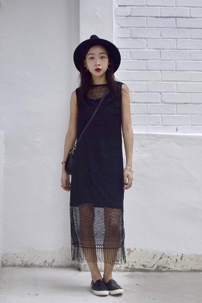 black fringe Oasapcom dress - wide brim Oasapcom hat - Topshop sneakers