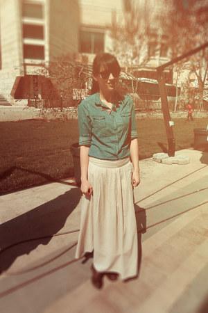 OASAP necklace - Deichmann boots - Tex shirt - rayban glasses - TinaR skirt