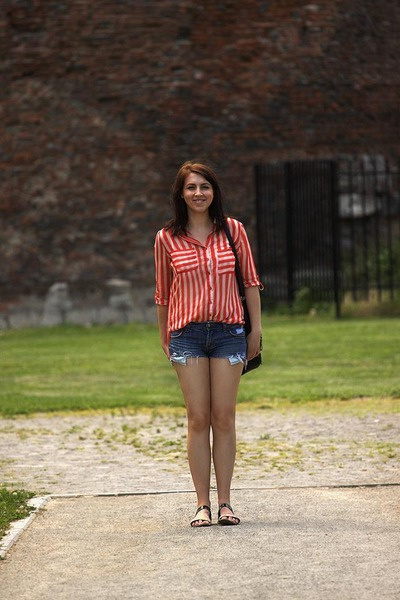 red Stradivarius blouse - unknown brand bag - unknown brand shorts - c&a sandals
