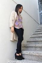 beige Venue cardigan - navy Just Usa jeans - black Zara heels