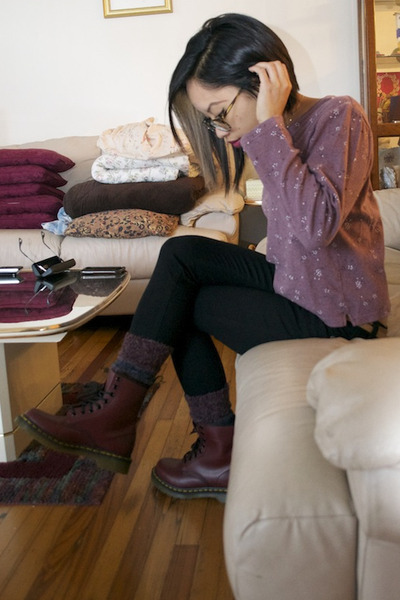 crimson Dr Martens boots - black justusa jeans - deep purple socks