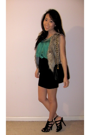 green top - brown vest - black skirt - black shoes - black purse