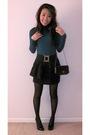 Top-skirt-belt-tights-shoes-purse