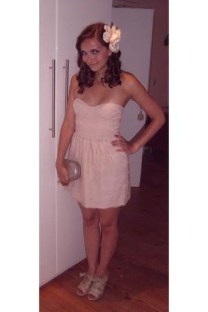 pink lace Zara dress - beige Deichmann shoes - silver Zara purse - white