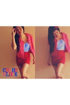 hot pink unbranded blazer - red bandage unbranded skirt - violet top