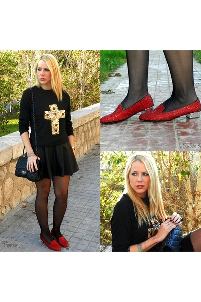 black Primark dress - ruby red Hispanitas shoes - black decathlon  diy t-shirt