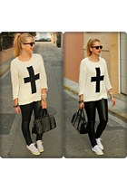 black pull&bear bag - white Primark sweater - black H&M pants