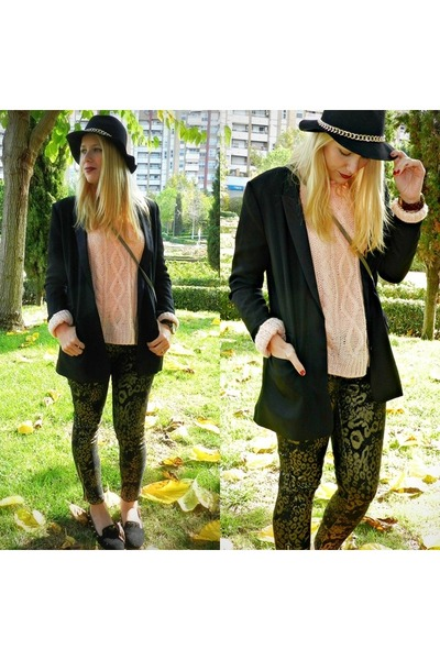 black Zara hat - salmon H&M sweater - black H&M blazer - black Primark pants