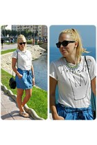 black Bershka bag - blue Oysho skirt - white Zara top