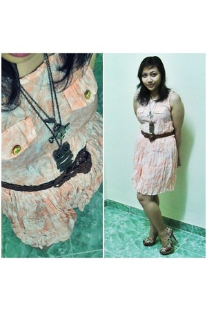 orange tangerine dress Fight dress - dark brown Bangkok finds belt - pink floral