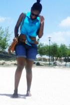 sky blue blouse - brown bag - navy shorts - brown flats