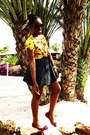Yellow-blouse-purple-blouse-black-skirt-amethyst-flats